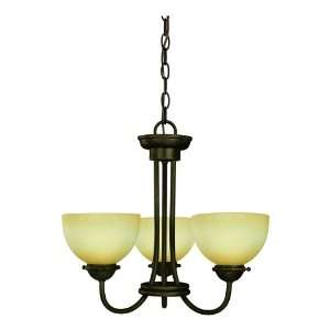 Star Three Light Chandelier, Oil Rubbed Bronze with Amber Mist Globe