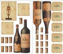 Huge Set 56 Wine Tasting Wall Decals Grapes Corks Labels Vino Decor