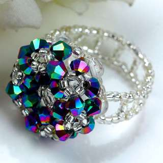 4mm Colorful Crystal Glass Faceted Beads Ring 1P Size 6