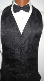 Plum Purple Paisley Tuxedo Vest / Tie Wedding Medium