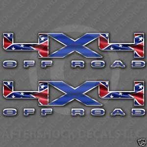 4x4 Rebel Truck Decal Confederate Sticker