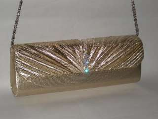 Silver Satin crystal Magnetism Lock Clutch Evening bag