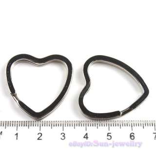 24pcs Heart Charm Split Key Rings Fit Keychains 160459