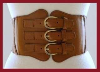 Buckle Leather Corset High Waist Belt Caramel Tan New