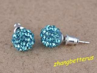 Blue Czech Crystal Rhinestone Pave Disco Ball Stud Earrings 9mm