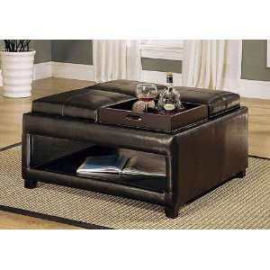 Brown Storage Ottoman Coffee Table w/ 4 Flip Trays Home