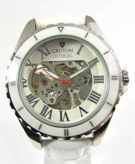 Automatic Mens CROTON Imprerial New Round Watch White Leather Band