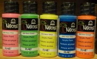 Folk Art Neon Acrylic Paint Lot Pink Blue Green Yellow