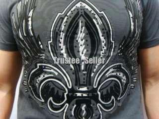 REBEL SPIRIT Royal Fluer Wings Rhinestone Tee Shirts