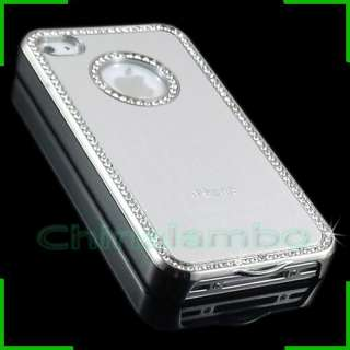 Luxury Bling Diamond Metal Aluminum Silver Chrome Case Cover For