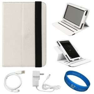 SumacLife White Textured Leather Folio Case Cover with