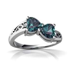 14K White Gold Heart Created Alexandrite Ring Size 9 Jewelry