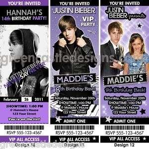 12 Justin Bieber Birthday Party Ticket Invitation Favor