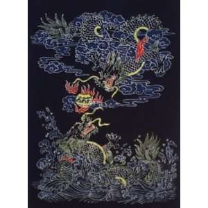 Sea vs. Sky Dragon ~ Batik Tapestry: Home & Kitchen