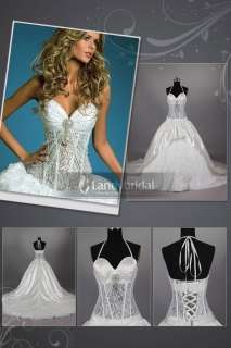Ivory Lace Satin A line Wedding Dress Bridal Gown Custom Size