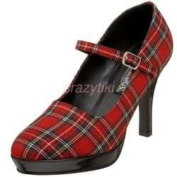 NIB Red Plaid School Girl Mary Jane Pumps Shoes 8 7.5 COLLEGE 04