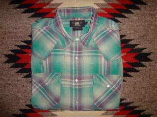 RL Ralph Lauren Green Multi Plaid Flannel Western Shirt   Large
