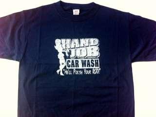 Hand Job Car Wash Navy Blue Tee Shirt Medium Well polish your rod