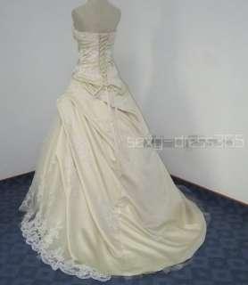 White/Ivory/Champagne Wedding Dress Bridal Gown Custom 4 6 8 10 12 14