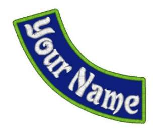 Custom Embroidered Name Patch Side Rocker 7x2 Biker Tag