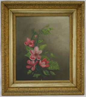 Antique Floral Oil Painting On Canvas Ornate Gilt Frame BEAUTIFUL