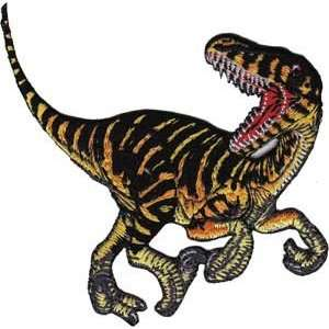 Dinosaur Animal Extinct Striped Velociraptor Embroidered