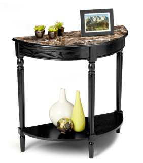 French Country Black Wood Marble Style Entry Side Table