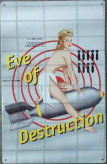 Sexy Pin Up Girl on Bomb Eve of Destruction Tin Sign