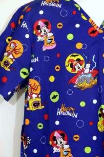 Nurses Scrubs Top Smock Disney Halloween Mickey Mouse M