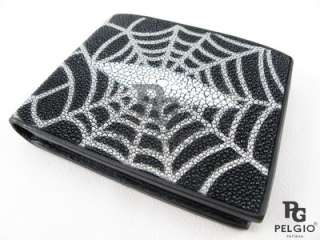 PELGIO New Genuine Stingray Skin Leather Mens Wallet Web Design Free