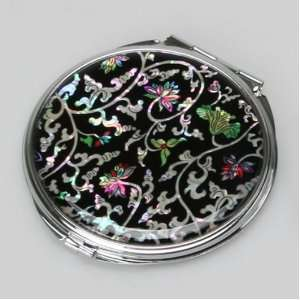 Mother of Pearl Arabesque Flower Design Double Compact Cosmetic Makeup
