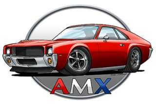 AMC AMX Muscle Car Cartoon Tshirt FREE