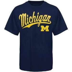 NCAA Michigan Wolverines Script One T Shirt   Navy Blue