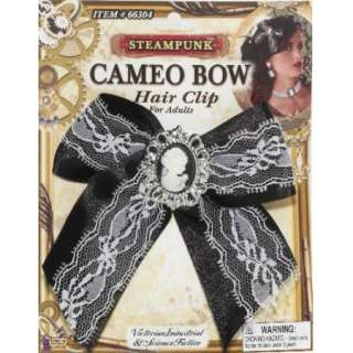 SteamPunk Cosplay Victorian Cameo Bow Hair Clip, NEW