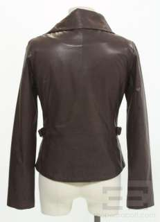 Andrew Marc Maroon Leather Asymmetric Zip Jacket Size Extra Small