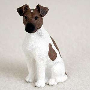 Fox Terrier Mini Resin Hand Painted Dog Figurine Brown/White