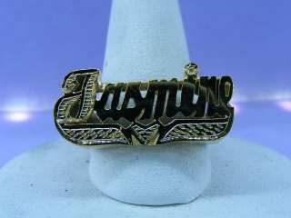 GOLD PLATED FLAT NAME RING W/ HREAT ANY NAME UP TO 7 LETTERS