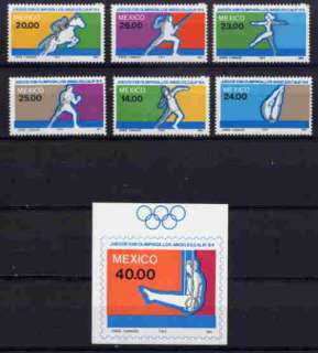 MEXICO 1984 LOS ANGELES OLYMPIC GAMES MINT SET AND SS