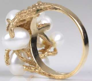 Designer (9) 4.5mm 6.0mm Pearls+14K Yellow Gold Ring