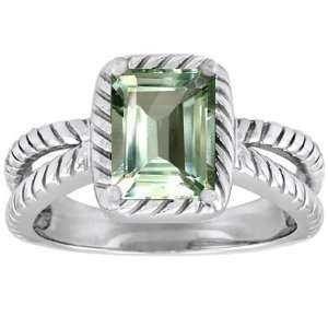 Gold Genuine Emerald Cut Green Amethyst Ring(MetalYellow Gold,Size8