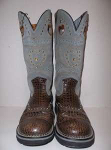 ARIAT FAT BABY BOOTS Western Cowboy Boots Brown Baby Blue Leather