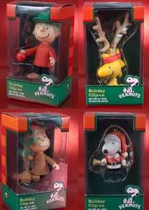Peanuts Charlie Brown Christmas Holiday Clip Ons Hanging Figures Set