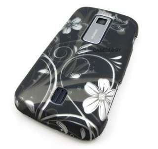 BLACK FLOWERS PHONE COVER CASE CRICKET HUAWEI ASCEND