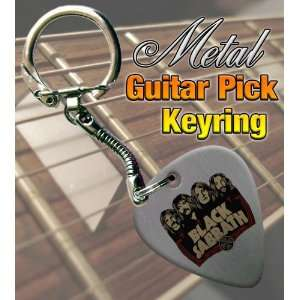 Black Sabbath Faces Metal Guitar Pick Keyring Musical