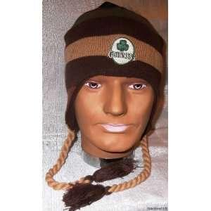 GUINNESS Beer Brown Striped Knitted Laplander Beanie CAP/HAT