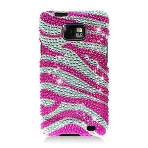 Samsung Galaxy S 2 Attain Crystal Diamond Bling Case Hot Pink Zebra