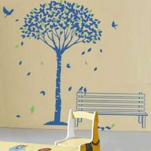 Tree and falling leaves removable vinyl art wall decals