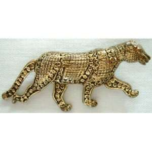 Inspired Gold Tone Jaguar Cougar Animal Pin Brooch