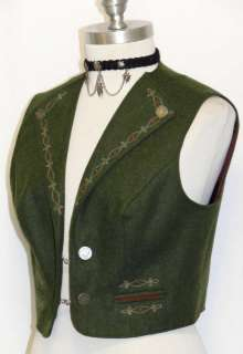 BAVARIA LODEN ~ WOOL GREEN Women German EMBROIDERED Trachten Dress