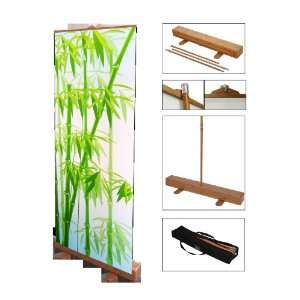Wood, Deluxe Portable Retractable Banner Stand Display for Trade Shows